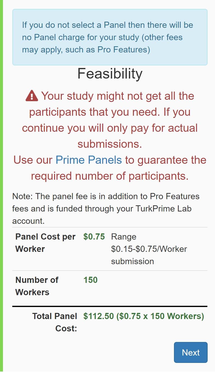 TurkPrime MTurk Toolkit Study Setup: Feasibility Calculator