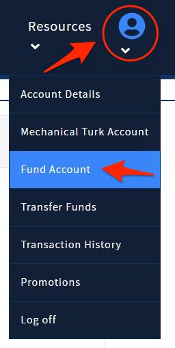 TurkPrime Fund Account Drop-Down menu
