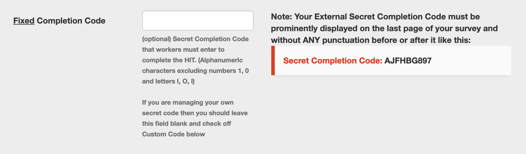 Approval Codes on MTurk: Fixed Completion Code