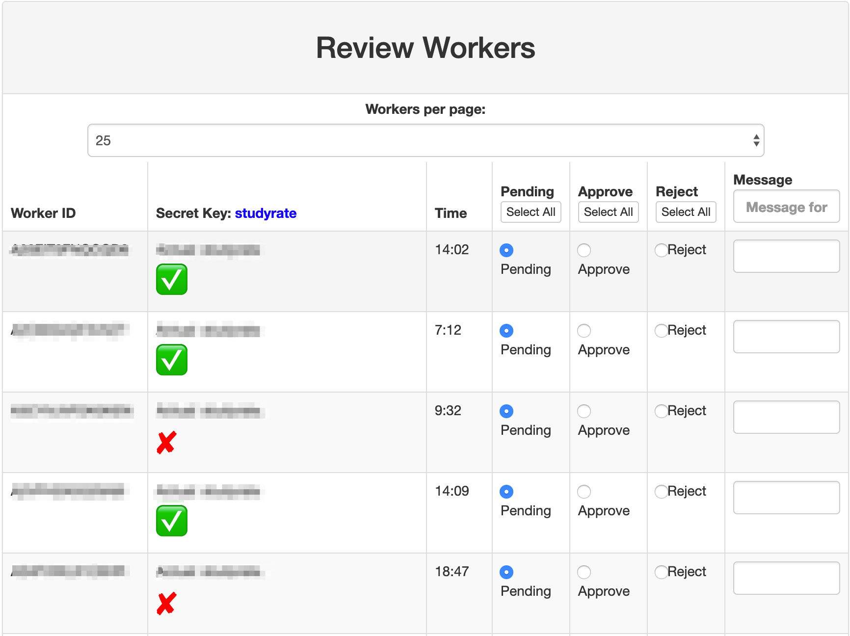 Approval Codes on MTurk: Manual Approval