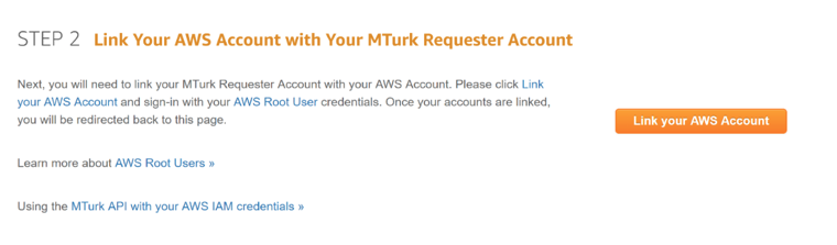 Link your AWS Account button on the MTurk Developer page
