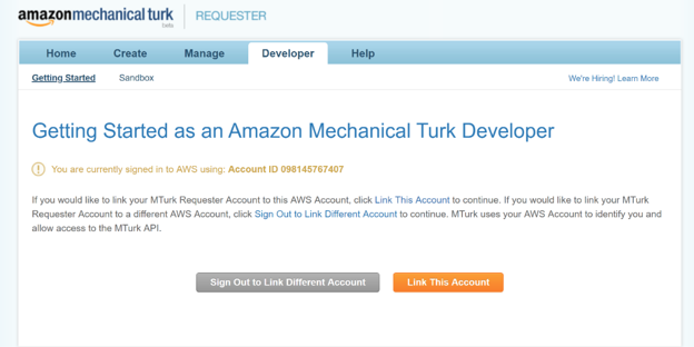 Link This Account button to get started as Amazon MTurk Developer