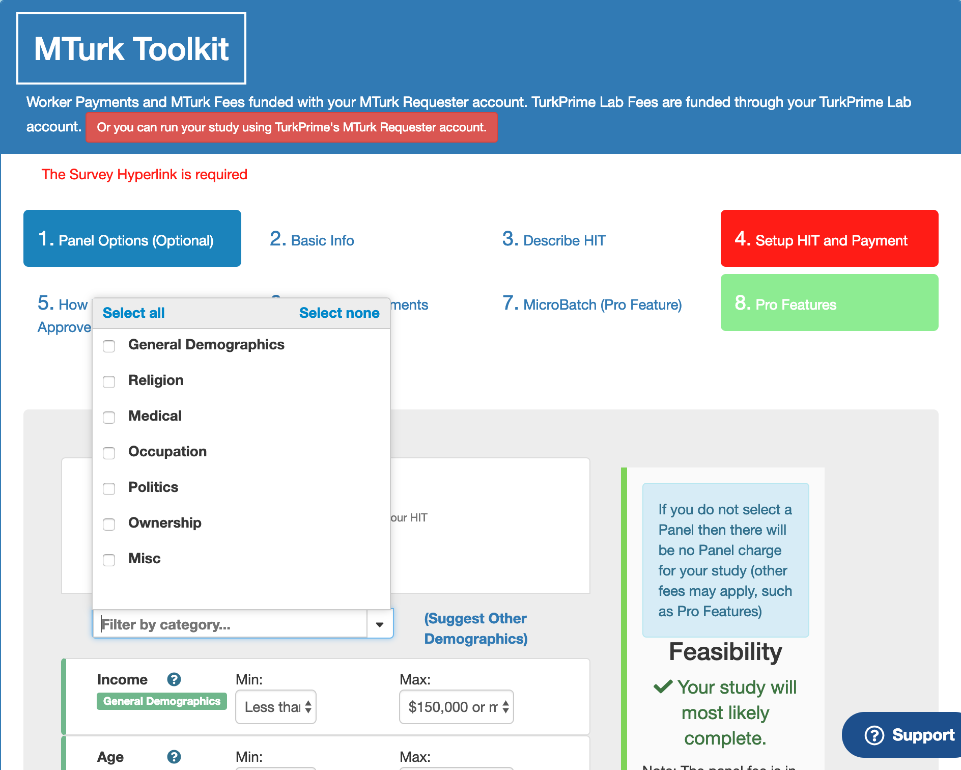 MTurk Toolkit Study Setup: Panel Options