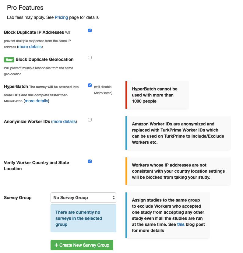 TurkPrime MTurk Toolkit Study Setup: Pro Features