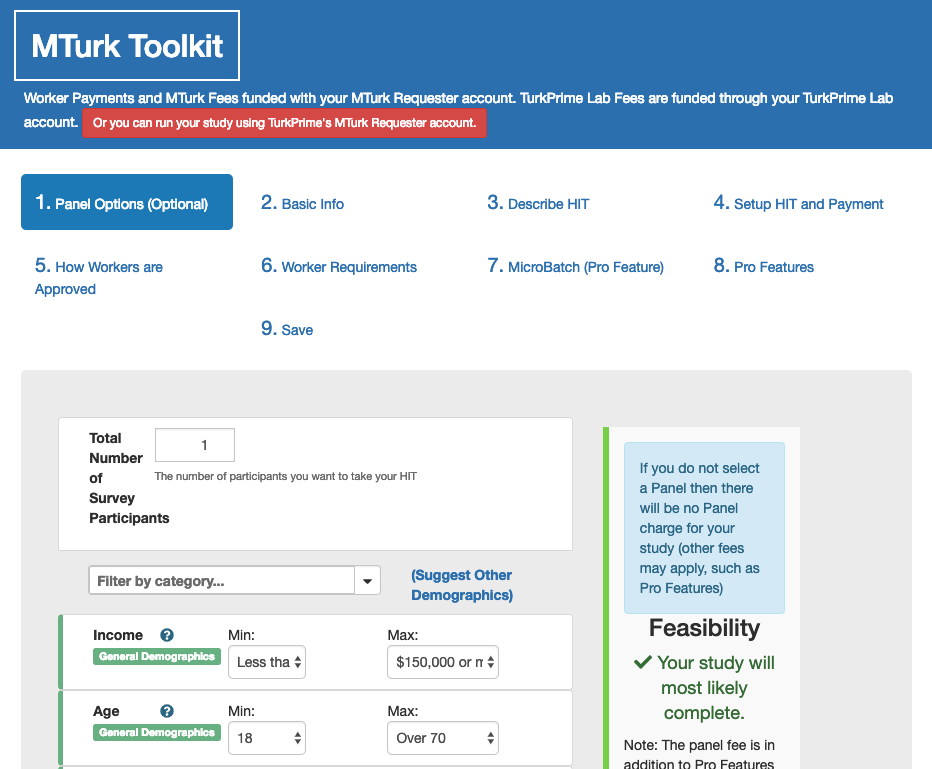 TurkPrime MTurk Toolkit Study Setup: Suggest Options